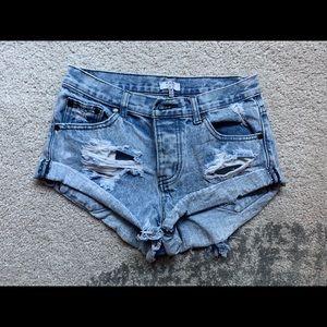 Tobi Distressed High Rise Denim Shorts - 24